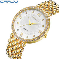 CRRJU Women S Watch Ultra Thin Stainless Steel Quartz Watch Lady Casual Hours Bracelet Watches Women