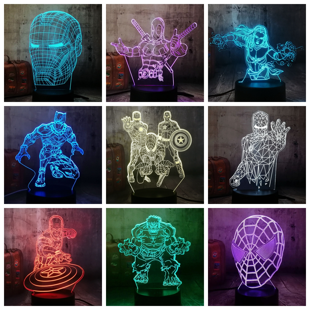 Cool Marvel The Avengers Spider Iron Man Hulk Deadpool 3D LED Night Light Multicolor RGB Bedroom Decor Kids Christmas Gift Toys