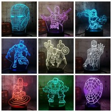 Cool Marvel The Avengers Spider iron Man Hulk Deadpool 3D LED Night Light Multicolor RGB Bedroom Decor Kids Christmas Gift Toys(China)