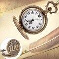 Moda Fob Antigo Bronze Retro Vintage DAD Padrão Quart Relógio de Bolso Pingente Com Colar de Corrente Conjuntos de Presentes do Dia dos Pais
