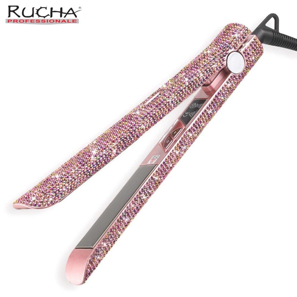 Różowe złoto ręcznie wykonane musujące kryształ diament Rhinestone wyświetlacz LCD cyfrowy żelazka kryształowe kamienie tytanowa prostownica do włosów w Prostownice od AGD na  Grupa 1
