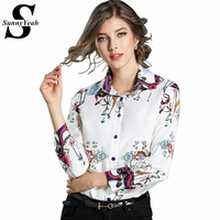 SunnyYeah Print Long Sleeve Shirt Women Blouse Camisas Femininas Ladies Chiffon Tops Office Blouses Chemisiers Blusas