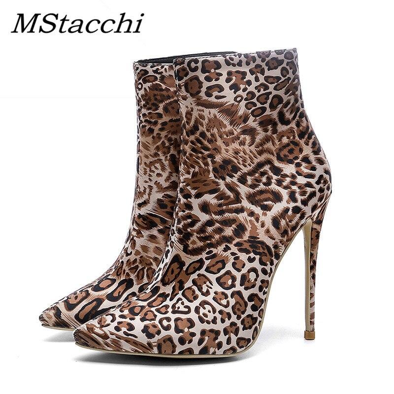 Sexy Moda Mstacchi Botas verde Leopardo Punta Alto 2019 Tobillo Zapatos  Tacón Mujer De Fiesta Nuevo Gris brown ZqxSwYqUP ff9bb57368a