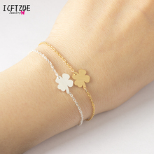 ICFTZWE Gold Armbanden Voor Vrouwen Stainless Steel Bracelets Bangles Pulseras Mujer Four Leaf Clover Bracelets Women Pulseira
