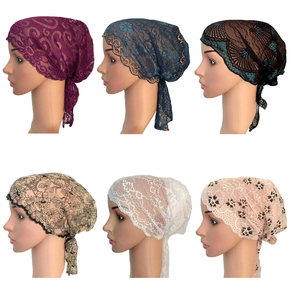 Women Muslim Turban Inner Cap Arab Lace Islamic Headwear Chemo Hat Wraps Cover   Beanie   Flower Hair Loss Cap Soft Long Tail Bonnet