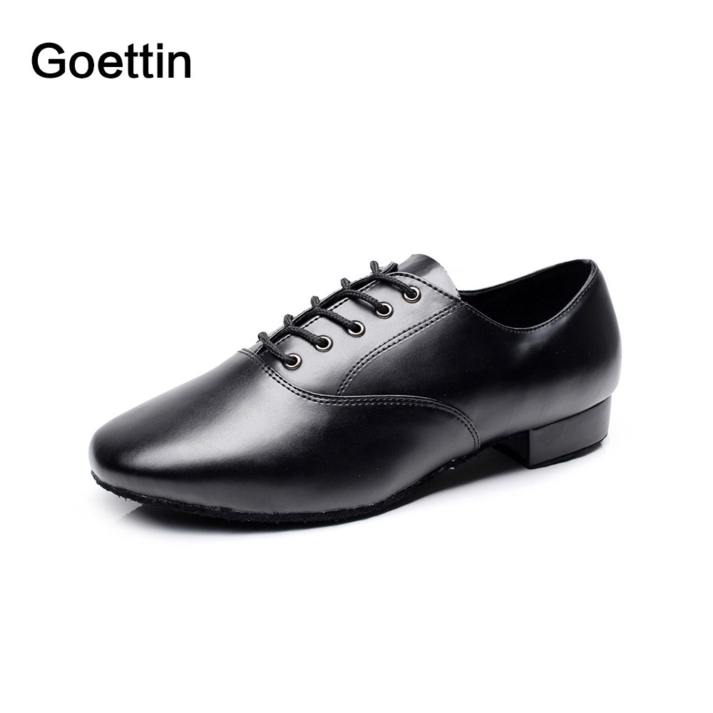 Guangdong Made New Brand Goettin Model 9013 Leather Upper Black Dance Shoes Latin Shoes for Man