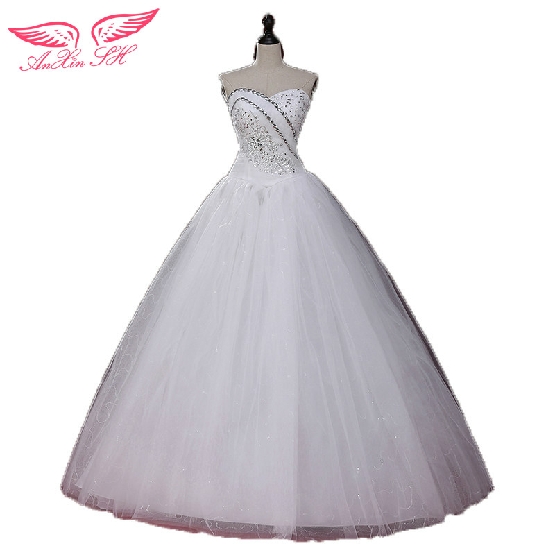 AnXin SH princess wedding dress bridal plus size tube top white wedding dress lace wedding dress S