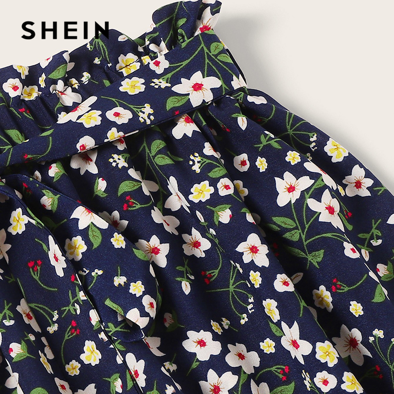 SHEIN Boho Navy Ditsy Floral Print Paperbag Waist Belted Flared Skirts Womens Summer 2019 Casual Frilled Pleated Mini Skirt 2
