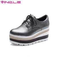 VINLLE 2017 Women Pump Vintage Style Beige Real Leather Lace Up Platfrom Shoes Women Spring Wedges