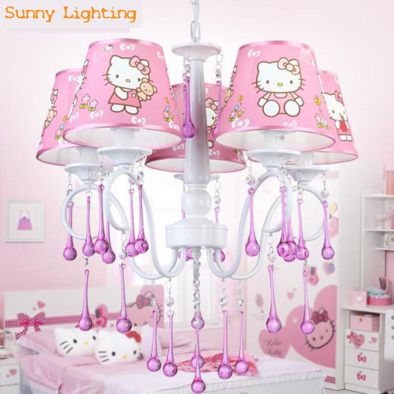 22 pink shade crystal pendant light for bedroom Hello Kitty modern led kids light fixture Children room baby light Luminaire