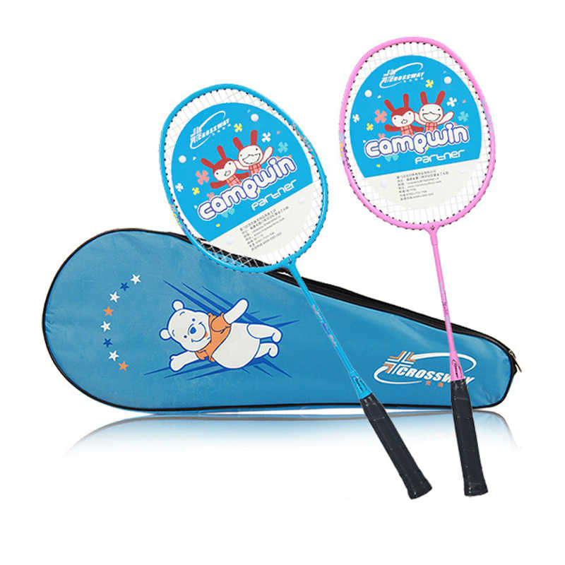 Badminton Racket for Children 3-12 Year Old Kids Training Badminton Rackets Aluminum alloy Egg Frame with Bag 1 Pair