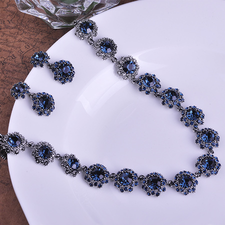 Blucome Vintage Luxurious Joias Zircon Colar Necklace Earrings Sets Brincos Blue Crystal Bijuterias Earrings Jewelry Set Joyas