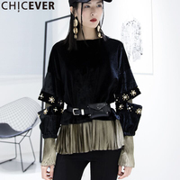 CHICEVER Autumn Velour Black Female Sweatshirt For Women Top Long Sleeve Hollow Patchwork Fake Two Piece
