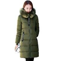 2018 Women Winter Large Fur Hooded Parkas Female Thick Warm Cotton Coat Women Wadded Winter Jackets