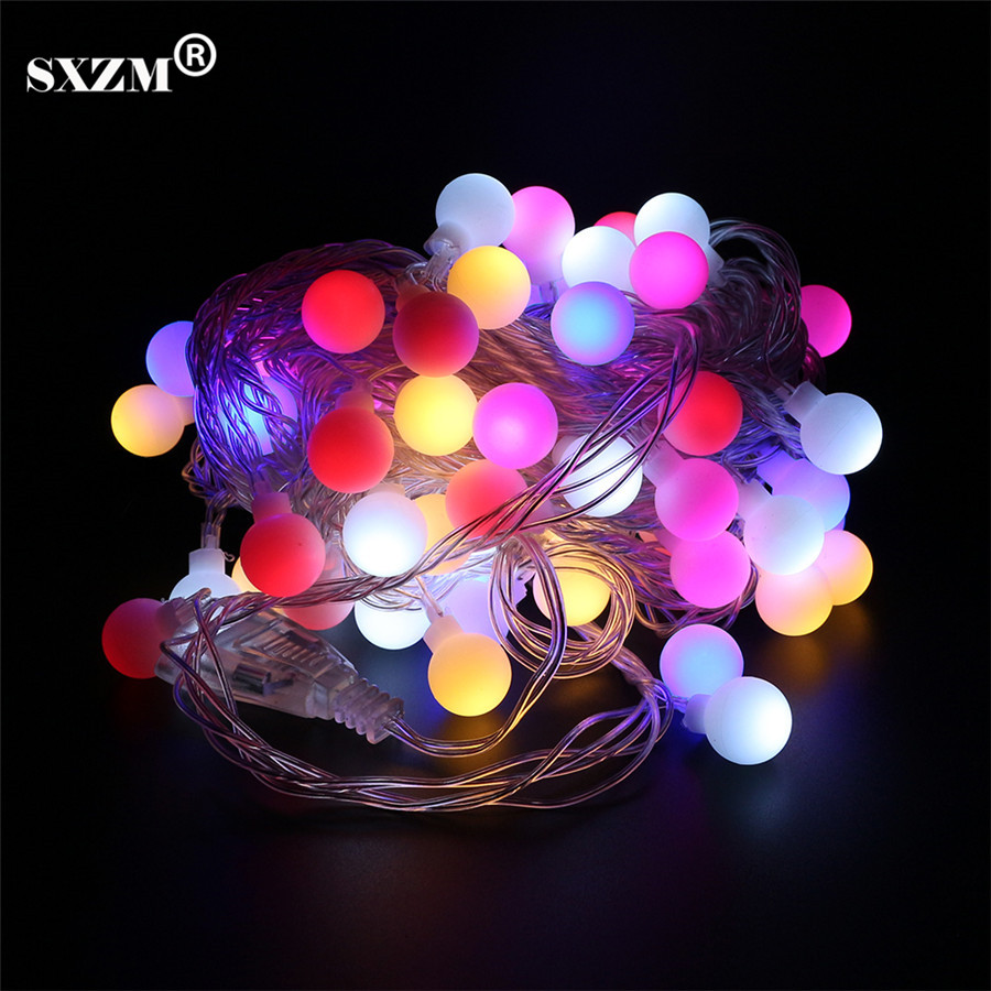 SXZM 10M 60Led Colorful led string light AC110V 220V holiday Outdoor decorative lighting 8 modes EU/US plug Waterproof