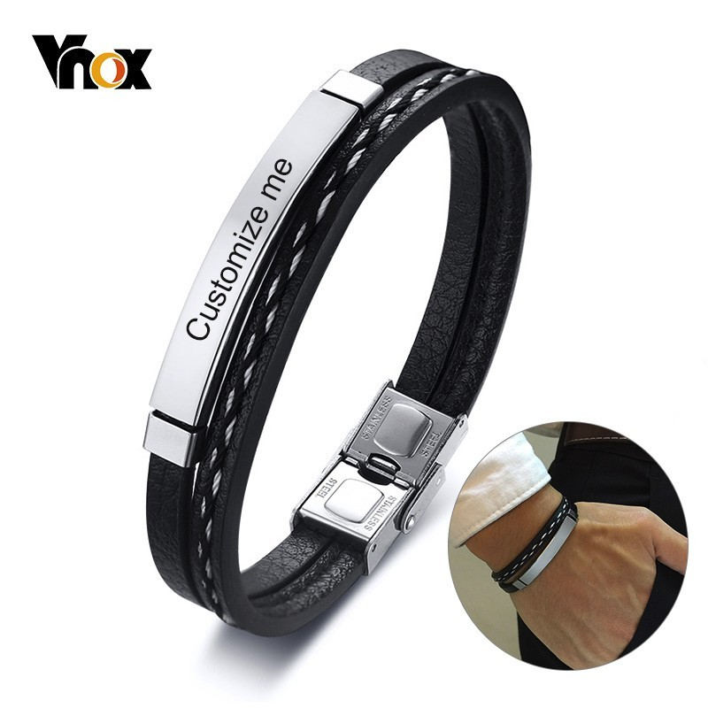 Vnox Multi Layer Leather Bracelets for Men Women Customizable Engraving Stainless Steel Bar Bangles Casual Personalized Pulseira crucifixo pingente de ouro masculino