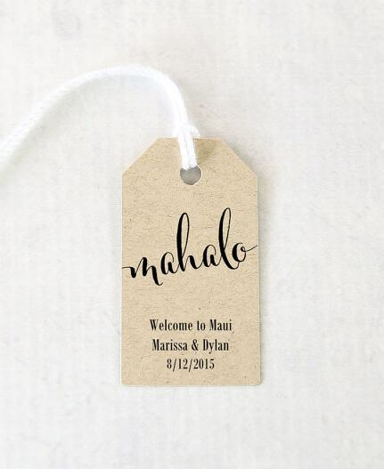 personalized printed mahalo hawaiian luau party favor tags wedding