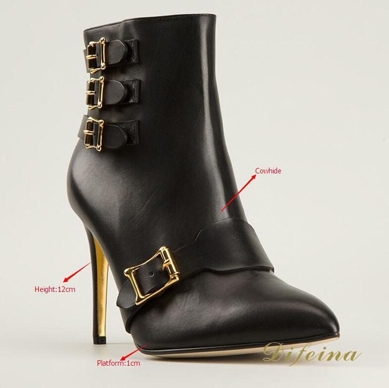 New Fashion Boots Solid Thin High Heels Ankle Buckle Autumn Boots Zip Pointed Toe Women Boots Genuine Leather Platform Shoes