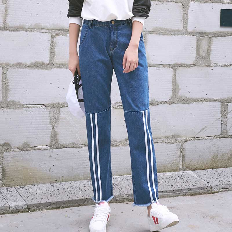 Women S Wide Leg Jeans Loose Fit Dark Blue Denim Pants With White