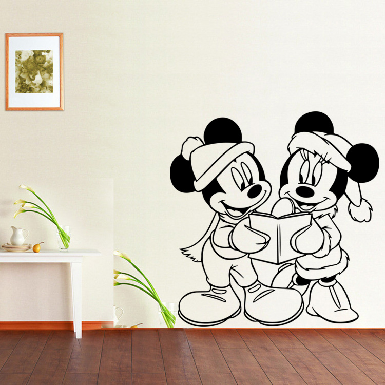 4148 Two Mickey Mouse Reading Books Wall Sticker Decorating Kids Bedroom Kindergarten Wall Painting Free Shipping