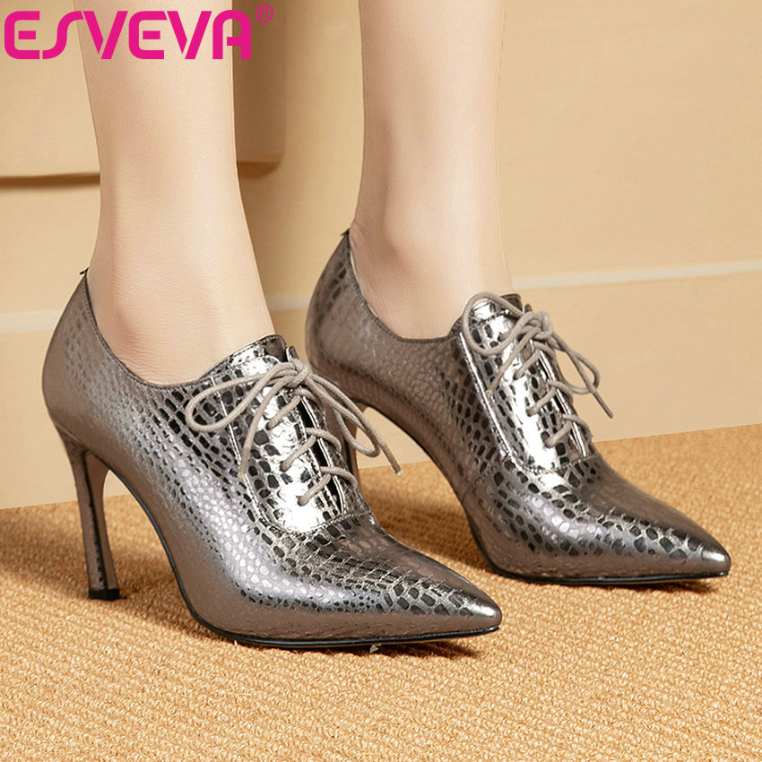 ESVEVA 2019 femmes pompes chaussures à lacets bout pointu Mature mince talons hauts sandales concis Style occidental chaussures femmes taille 34 39-in Escarpins femme from Chaussures    1