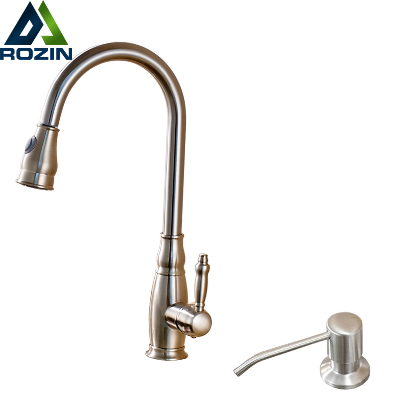 Brushed Nickel with Kitchen Soap Dispenser Hot and Cold Faucet for Kitchen Single Handle Deck Mounted Pull Out/down Mixer Taps kitcox70427dpr06042 value kit dial basics foaming hand soap dpr06042 and glad forceflex tall kitchen drawstring bags cox70427