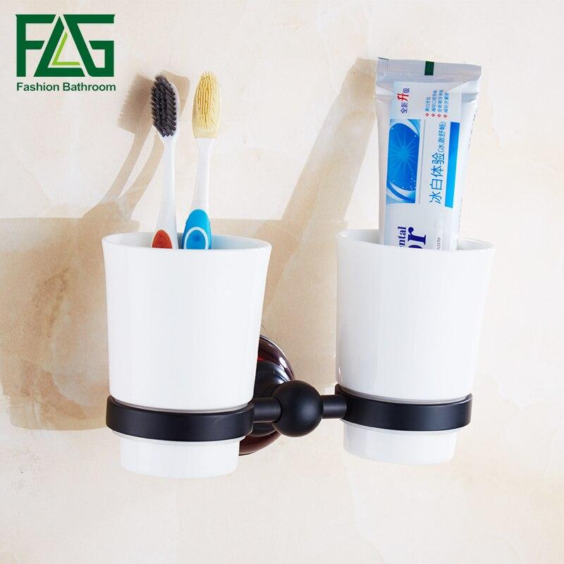 FLG Tumbler Holder Cup & Tumbler Holders Space Aluminum Black Tumbler Toothbrush Holder  Bathroom Accessories flg bathroom accessories wall mounted tumbler holder cup