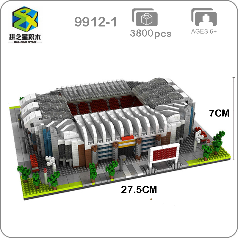 Building Star Manchester United Football Old Trafford Stadium DIY 3D Model Diamond Building Nano Blocks Toy
