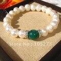 7 pulgadas brazalete de perlas de AA 8 - 9 MM negro genuino de la perla y verde Jade moda pulsera de la muchacha de joyas de la mujer envío gratis