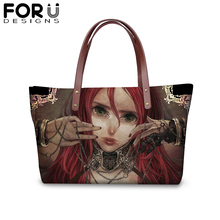 FORUDESIGNS Vintage Gothic Girls Large Capacity Zipper Handbag for Women Dark Art Shopping Shoulder Bag Female Protable Purse