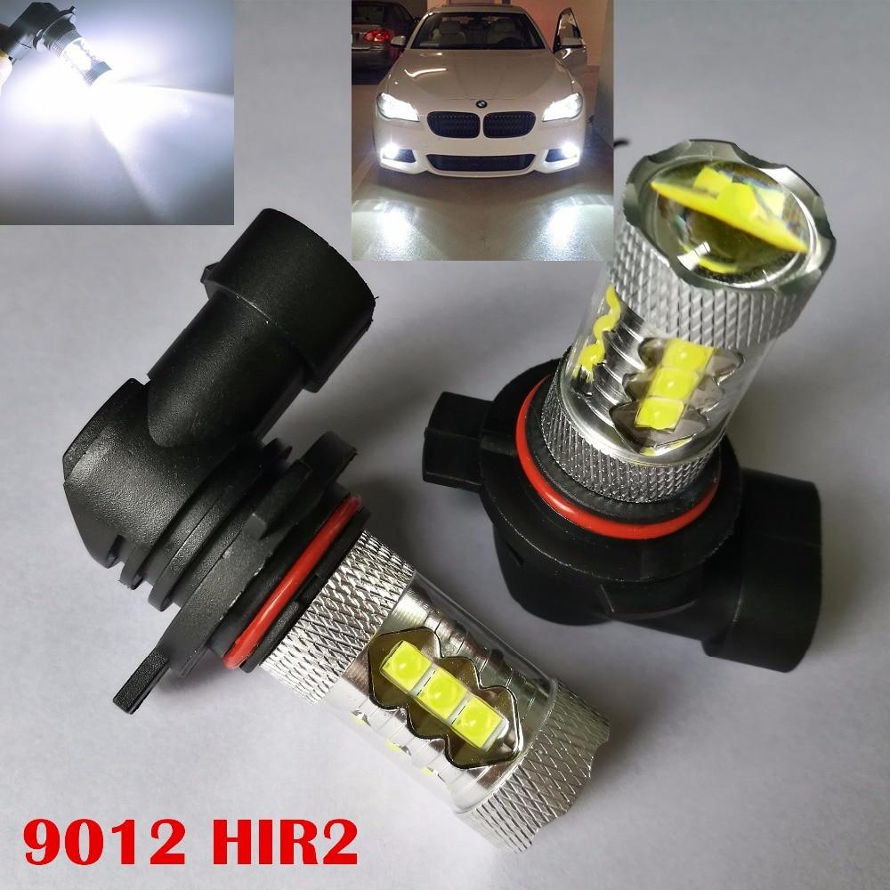 2Pcs 6000K 9012 HIR2 PX26D 80W LED Daytime Running Lights Bulb Universal 12V Auto Car Fog Lights DRL Daytime Driving Lamp
