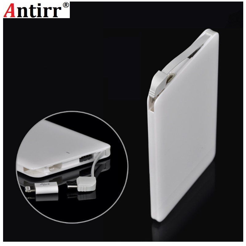 Antirr 6000mAh Power Bank Portable External Battery Charger Mobile USB Powerbank Built-in Charging Cable