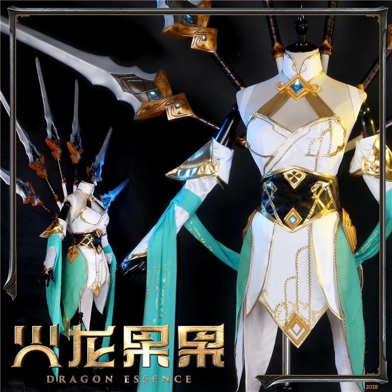 Hot New LOL Hot Game Cos Irelia Sword Jade Cosplay Costume Women Dress 2018 New Dresses