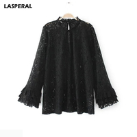 NIBESSER Blouse Women Long Flare Ruffle Sleeve Embroidery Lace Shirts Ladies High Neck Spring Summer Fashion