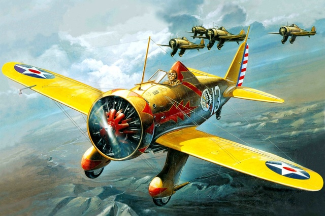 aircraft airplane fighter military model boeing p 26 peashooter KA005 room home wall modern art decor wood frame poster
