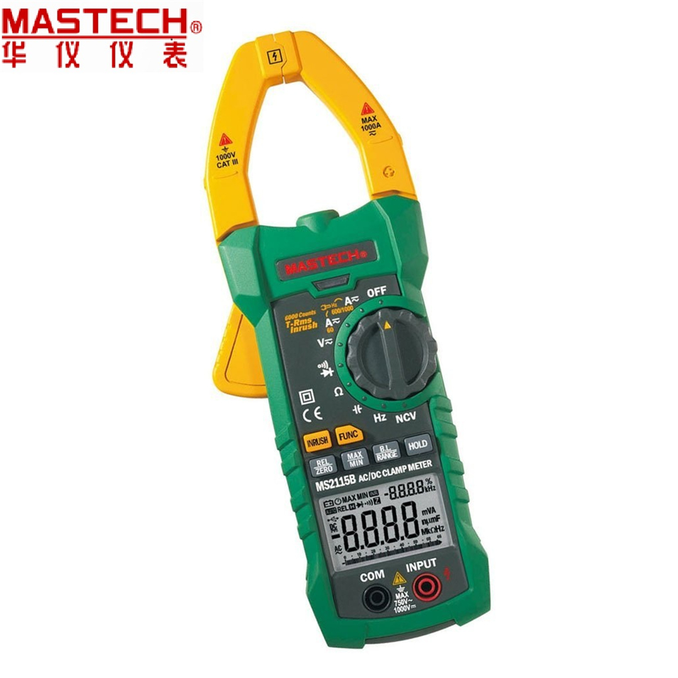 2017 New MASTECH MS2115B True RMS Digital AC/DC Clamp Meters Capacitance Frequency Tester W/USB Interface & NCV my68 handheld auto range digital multimeter dmm w capacitance frequency