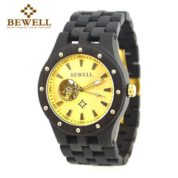 BEWELL luksusowy szkielet automatyczne mechaniczne zegarki na rękę dla człowieka mężczyzna Luminous Moment zegar drewniany zegarek Relogio Masculino 131A w Zegarki mechaniczne od Zegarki na