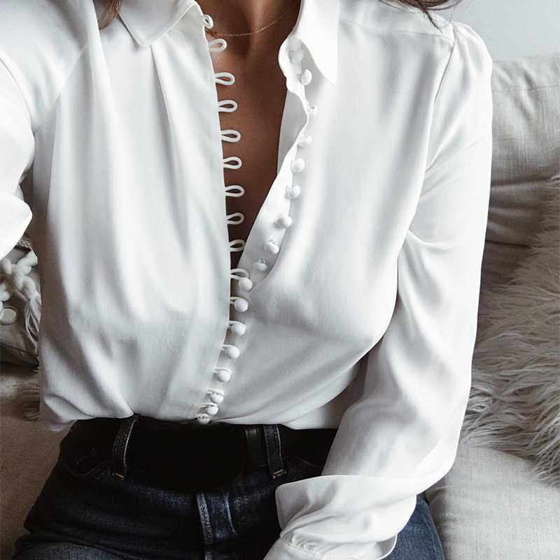 0491e0d37dcdf2 Long Sleeve Many Button Down Blouse Women Turn Down Color Shirt Female White  Yellow Spring Autumn