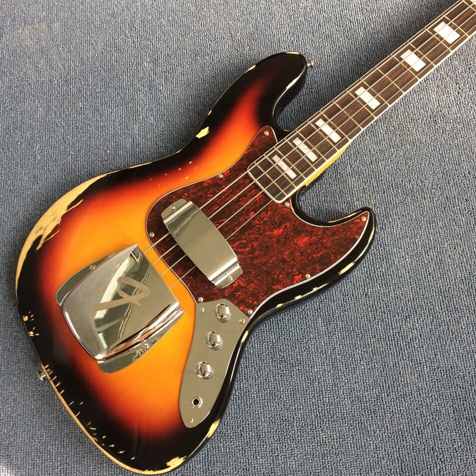 Nouveau style de haute qualité personnalisé 4 cordes basse guitare, touche palissandre, antique, fer couverture, livraison gratuite
