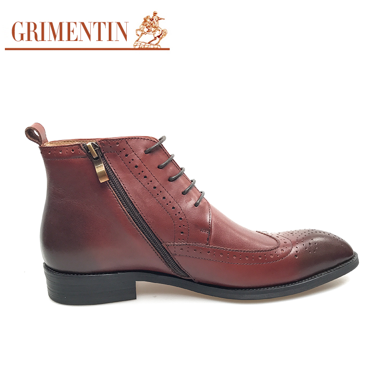 26d7c98aa775 GRIMENTIN Men Dress Shoes Genuine Leather Brown Italian Designer Formal  Shoes For Business Office