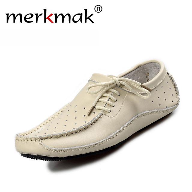 Verano Nueva 2016 Hombres Zapatos de Los Holgazanes Planos de Los Hombres Zapatos de Conducción Ocasionales Mocasines de Cuero Genuino de La Manera Ahueca Hacia Fuera Transpirable Zapatos