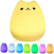 LED Cute Silicone Cat Lamp  7-Colour Lights Children Kids Bedside Support USB Rechargeable Animal Light