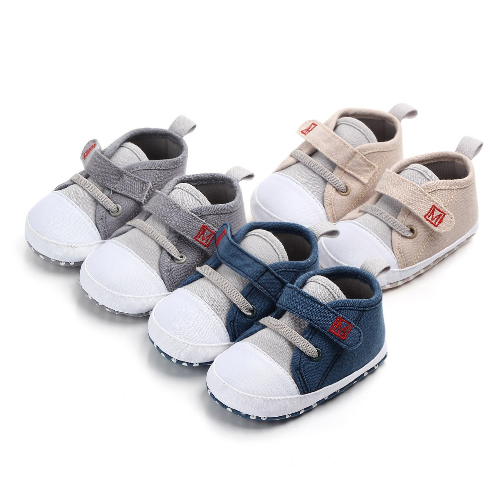 Newborn Toddler Baby Cute Boys Girls Canvas Letter First Walkers Soft Sole Shoes