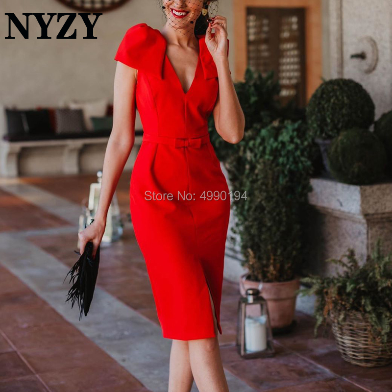 Cocktail     Dress   NYZY C202 Jersey V Neck Bow Straps Slit Red Evening Formal   Dress   for Wedding Party Homecoming Graduation