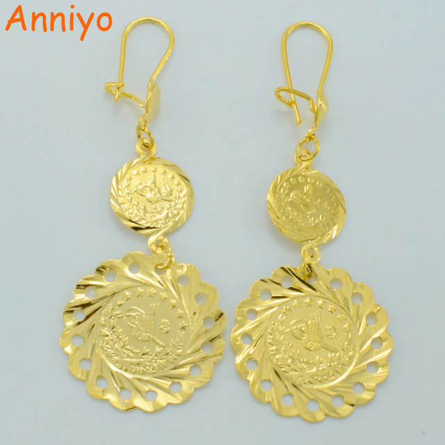 Online Anniyo Turkey Coin Earrings For Women Gold Color African Jewelry Middle East Turkish 009612 Aliexpress Mobile