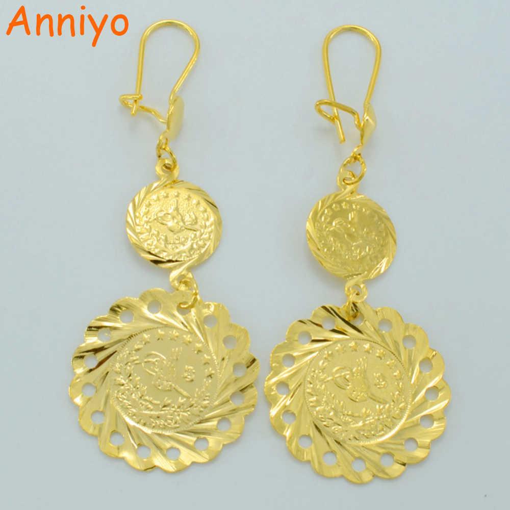 Anniyo Турция серьги в виде монет для женщин золото цвет африканский ювелирные изделия Ближний Восток турецкий #009612