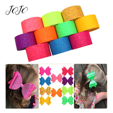 JOJO BOWS 75mm 2y Sparkly Glitter Ribbon For Crafts Solid Fluorescent Tape Needlework DIY Hair Bows Sewing Webbing Material
