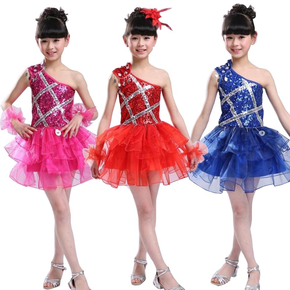 Blue Sequined Girls Modern Jazz Dancewear Dress kids Ballroom Ballet Party Dancing Costumes Outfits