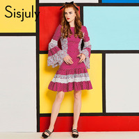 Sisjuly 60s Vintage Dress Women Ruffles Polka Dots Patchwork Floral Print Flare Sleeve Lace A Line