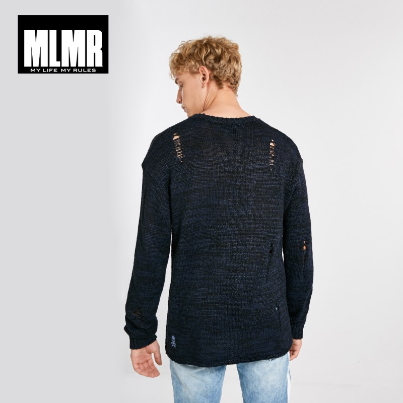 JackJones MLMR Men's Woven Pattern Ripped Contrasting Letter Print Round Neckline Knitted Homme Cotton Pullover MenM|218324551